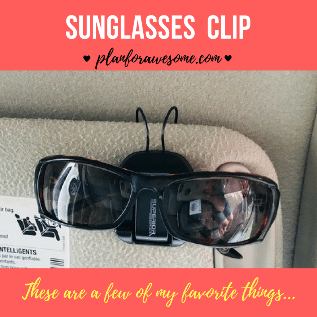 Awesome Sunglasses Clip for your Sun Visor or Air Vent in your Car. GENIUS design - they fit any visor, stay securely in place & hold your sunglasses securely! LOVE THESE. PlanForAwesome