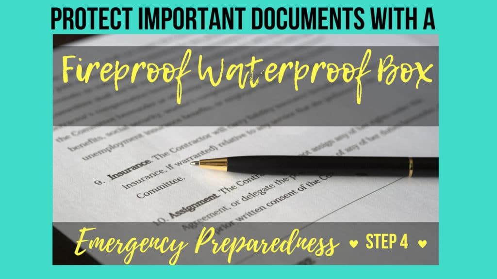 Emergency Preparedness Step 4-Protect Important Documents With a Fireproof Waterproof Box- Get all the details on why you need one, which documents to include, how to organize, what size, & where to buy!