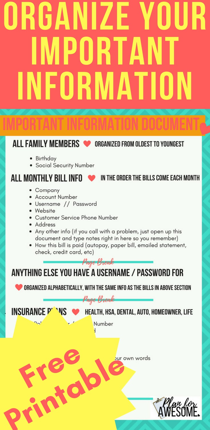 FREE PRINTABLE - Important Information Document - a comprehensive list of all your important accounts, usernames, and passwords - I love how this girl is so organized, and breaks it down into easy steps!