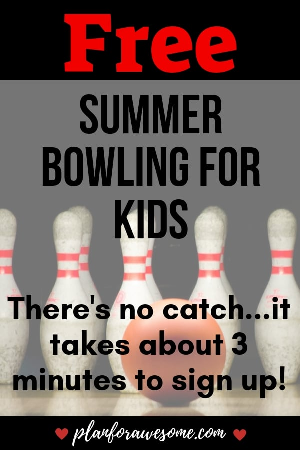 FREE Summer Bowling for Kids - There's NO CATCH!  It takes about 3 minutes to sign up!  Get the link here!