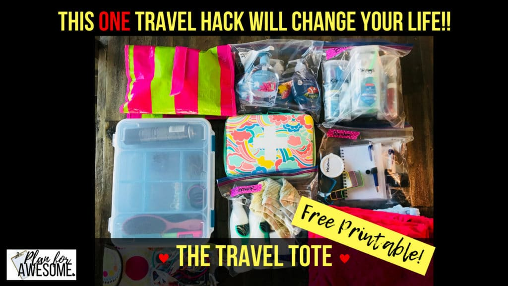 This ONE Travel Hack Will CHANGE YOUR LIFE - The Travel Tote. This post is a MUST-SEE! All traveling necessities in one place, ready to go any time. Tons of hacks within this post. Free printable checklist!!