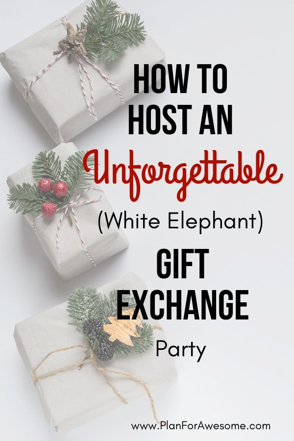 How to Host an Unforgettable (White Elephant) Gift Exchange Party - Adorable FREE Printables in this post. Also, a post with great white elephant gag gift ideas! -PlanForAwesome!