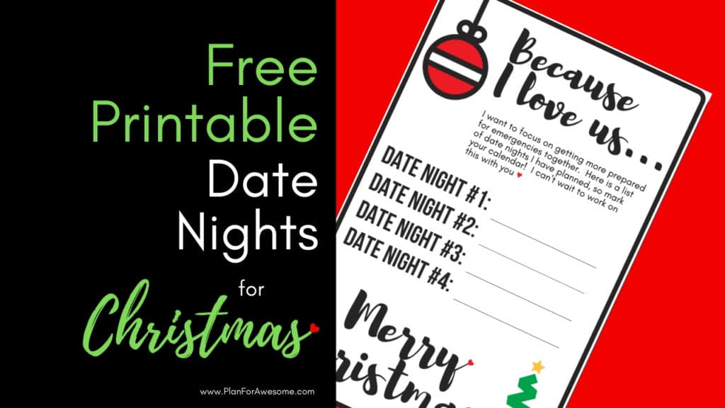 FREE PRINTABLE Date Nights for Christmas - The Perfect Gift! What an awesome idea for a Christmas gift for your spouse. PlanForAwesome
