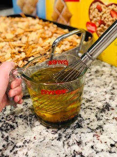 The Yummiest Homemade Non-Sugary Snack for the Holidays - this homemade Chex mix is A-MAZ-ING and SO EASY!!!! Dump all the boxes in, throw in the seasoning, stir it up, and bake. LOVE THIS STUFF! -PlanForAwesome