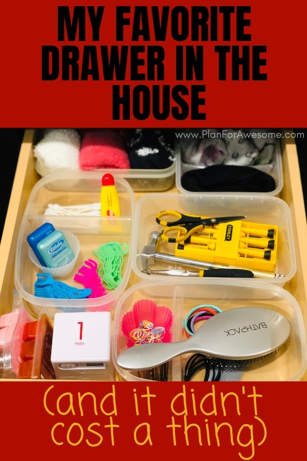 My Favorite Drawer in the House (And it Didn't Cost a Thing) - This is not a junk drawer; this is a USEFUL drawer for the most random things you wish you had in your kitchen on a daily basis.  One of the best life hacks I've ever seen! - PlanForAwesome