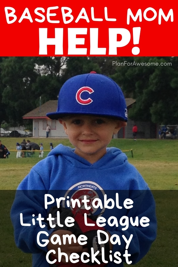 Baseball Mom Help!  Free Printable Little League Game Day Checklist to Help you Have a Stress-Free Game Day!  This girl has thought of EVERYTHING to help you get ready for a day at the Little League field without being stressed out and late!  Love her website!