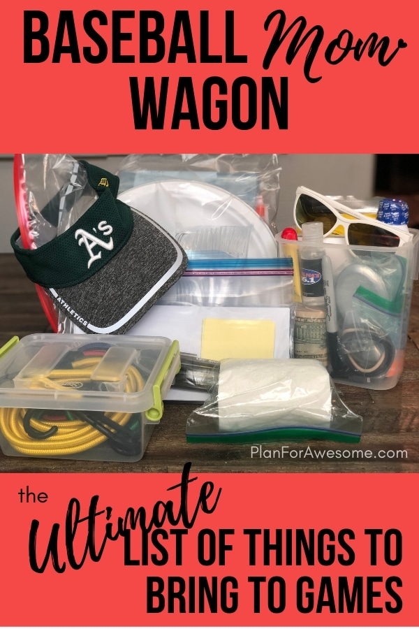 Baseball Wagon: The Ultimate List of Things to Bring on Little League Game Days - This is the BEST, most comprehensive list I have seen for what to bring to be prepared for baseball games. It covers EVERYTHING, and even has a free printable checklist!