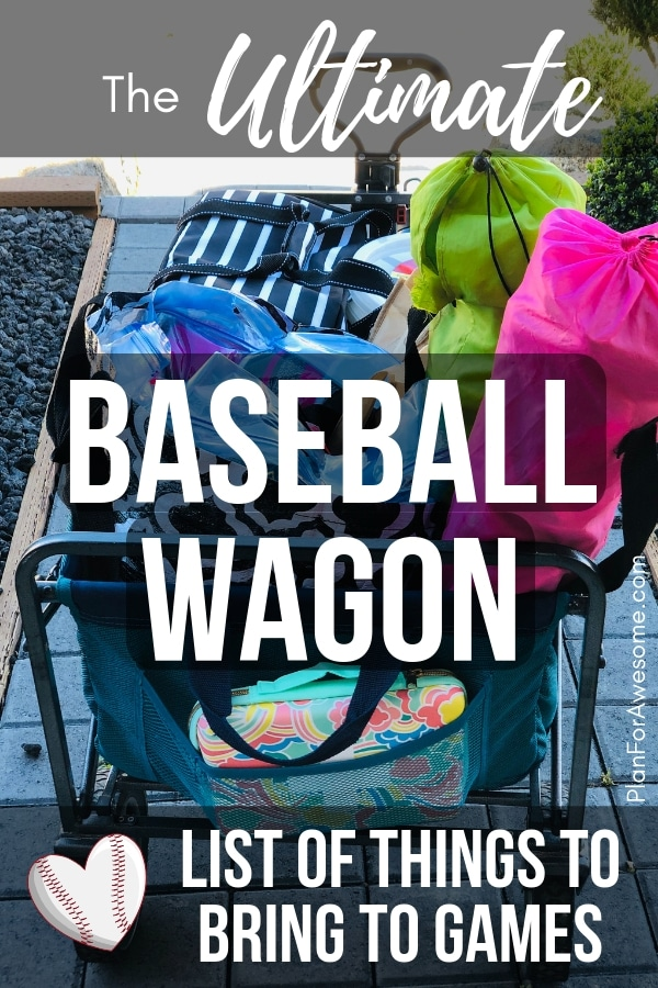 Baseball Wagon: The Ultimate List of Things to Bring to Little League Games - This is the BEST, most comprehensive list I have seen for what to bring to be prepared for baseball game days. It covers EVERYTHING! Plus, a free printable checklist!