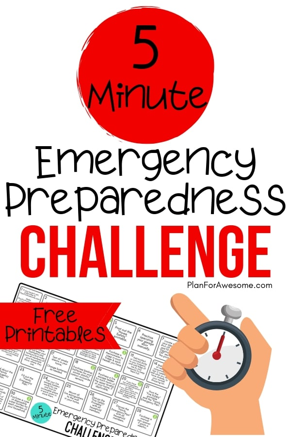 5-Minute Emergency Preparedness Challenge - I'm so excited to do this for National Emergency Preparedness Month.  I love how this girl from PlanForAwesome.com has made these tasks less than 5 minutes!  Anyone can do this!  #beprepared #emergencypreparednessmonth