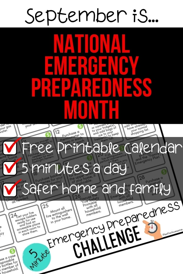 5-Minute Emergency Preparedness Challenge - I'm so excited to do this for National Emergency Preparedness Month!  I love how this girl from PlanForAwesome.com has made a free printable calendar of these tasks that take less than 5 minutes - Anyone can do this!  #beprepared #emergencypreparednessmonth