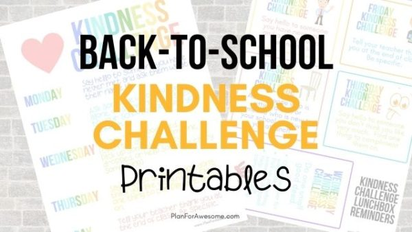 Back-to-School Free Printable Kindness Challenge! This is SO COOL and SO EASY to do the first week of school. The free printables include lunchbox reminders and textable images to remind your kids of that day's kindness task. LOVE THIS! #kindness #backtoschool