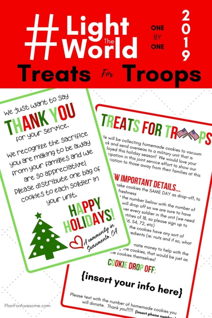 #LightTheWorld 2019 - Treats for Troops - Great idea to light the world this year! This girl is even willing to customize the flyer FOR FREE and her free printables are adorable!  Can't wait to do this with my ward! #LightTheWorld #LightTheWorld2019 #soldiercarepackage #freeprintables