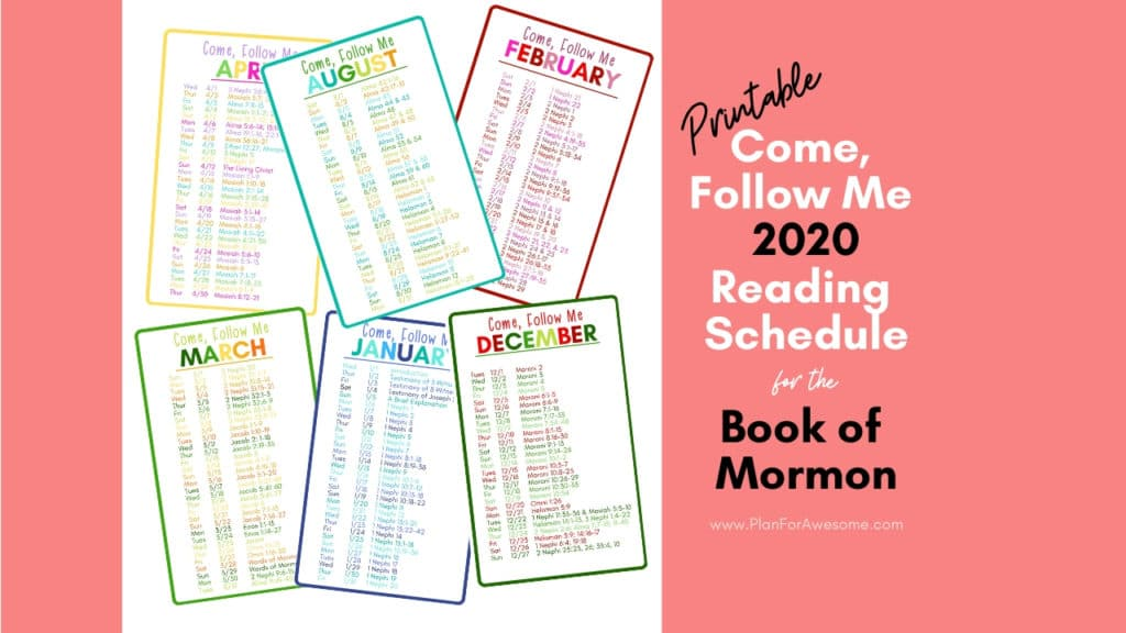 """This bright, colorful, and easy to read 2020 """"Come, Follow Me"""" reading schedule for the Book of Mormon is perfect. You can even slip the whole set in your scriptures! #comefollowme2020 #CFMBookofMormon"""