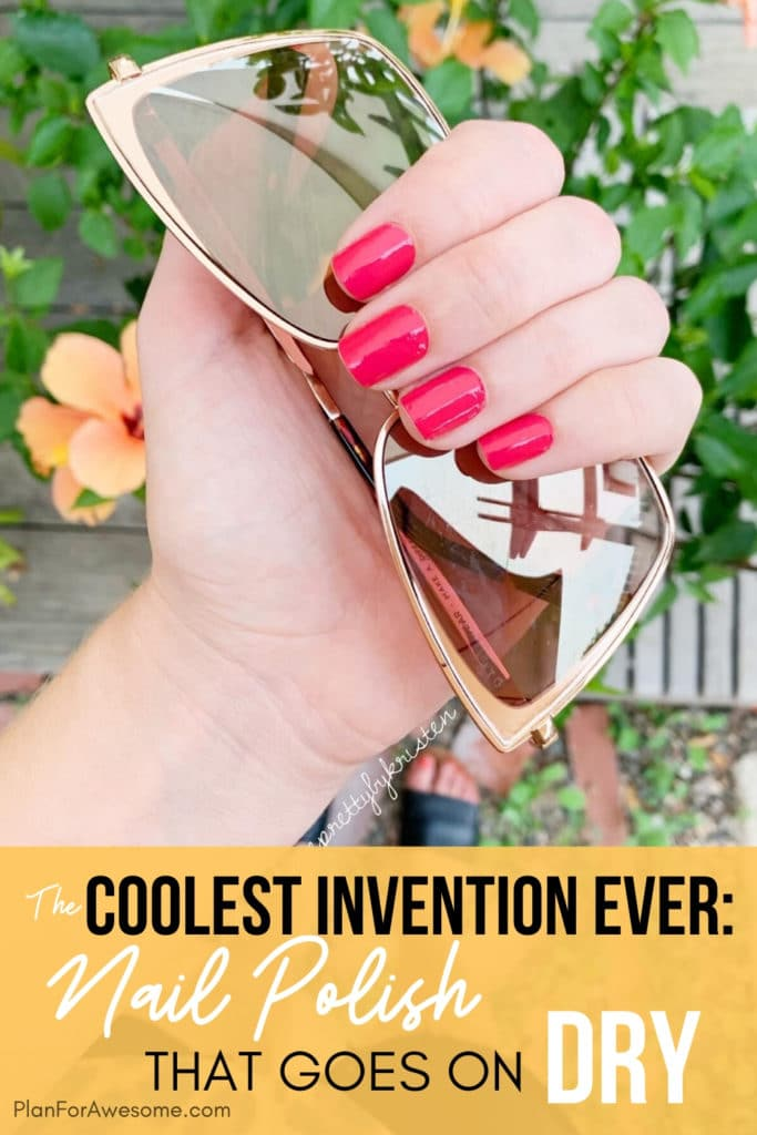 The Coolest Invention Ever: Nail Polish that Goes on Dry!  COMPLETELY DRY!  It takes 10 minutes to apply a full manicure and is a fraction of the cost!  I love these so much, I can't wait to give them as gifts! #bestgiftsforher #giftideasforher