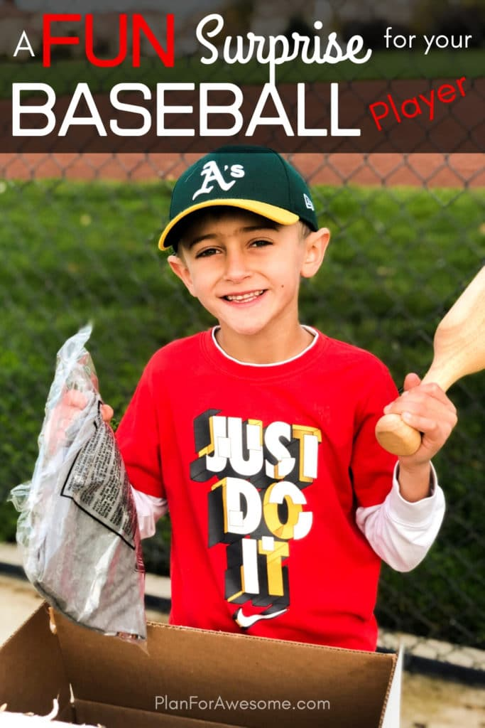 The BEST GIFT EVER for Baseball Players and she has a $20 coupon code!  This is seriously the coolest and the easiest gift idea for baseball lovers and players!  A surprise box full of baseball gear, apparel, training aids, accessories, and snacks - I just ordered a subscription for my kids!!  #baseballgiftideas #baseballmom