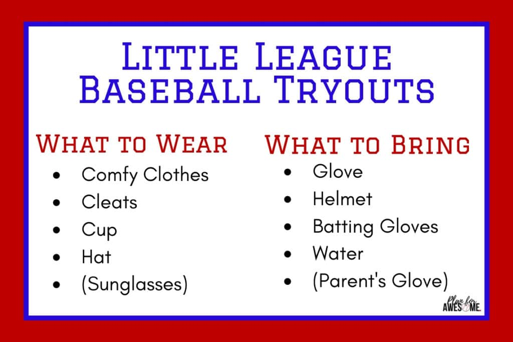 What to Wear and What to Bring to LIttle League Baseball Assessments #baseballmom #littleleaguemom