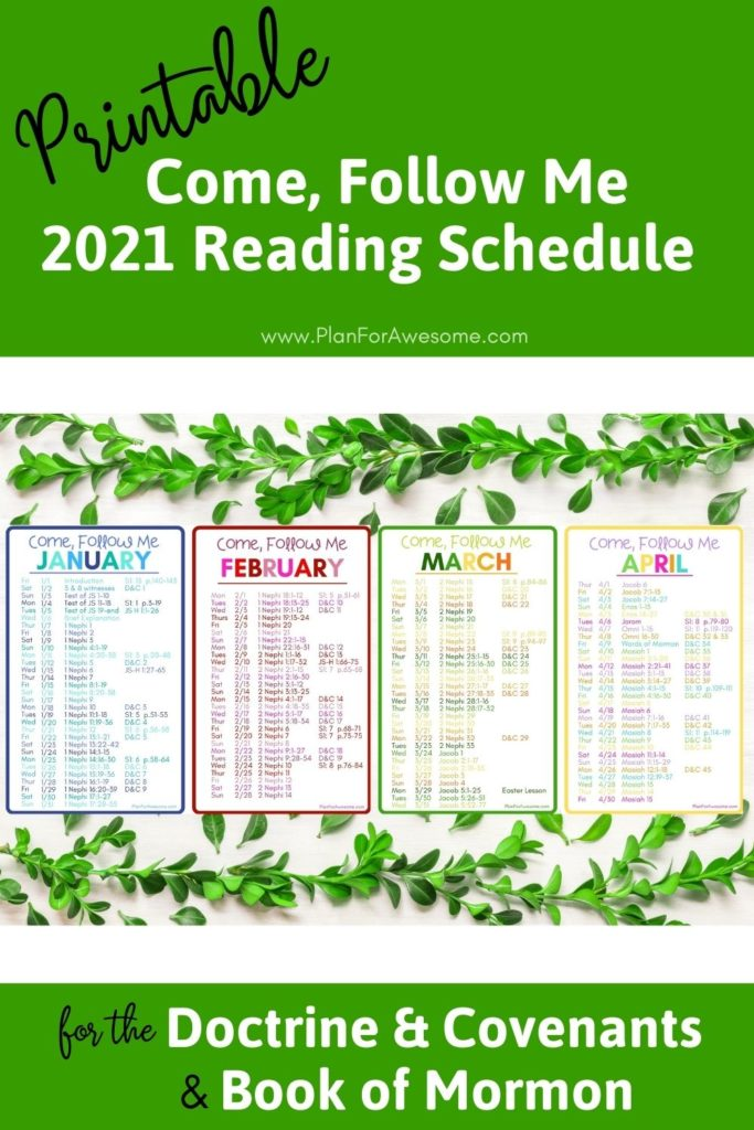 2021 Come Follow Me Daily Reading Schedule for the D&C AND Book of Mormon! The perfect printable reading schedule to keep you on track to not only get the Come, Follow Me reading done, but also to start and finish the Book of Mormon in 2021. #comefollowme #ldsprintable